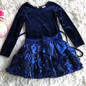 Girls Elegant Dress Navy Blue Size 5